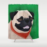 pug Shower Curtains featuring Pug by Nir P