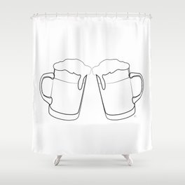 """"""" Kitchen Collection """" -Two Beer Mugs Shower Curtain"""