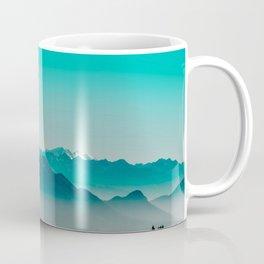 Rise above the mist. Turquoise Coffee Mug