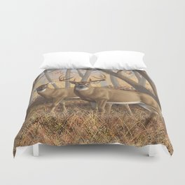Whitetail Deer Trophy Buck and Doe in Autumn Duvet Cover