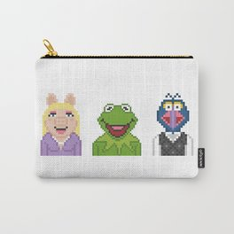 Kermit Miss Piggy And Gonzo The Muppets Pixel Carry-All Pouch