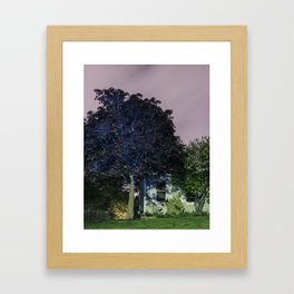 Night Tree Glowing Blue Framed Art Print