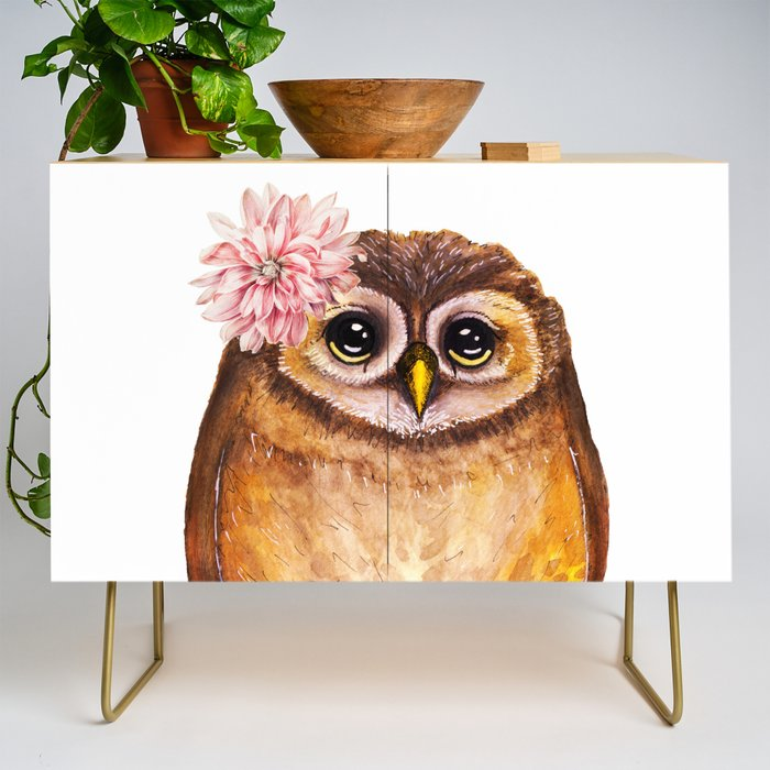 Rosalie, the baby owl Credenza