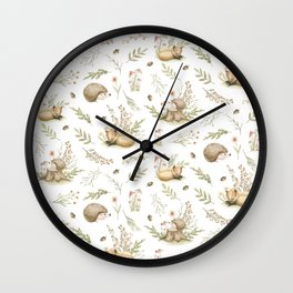 Fox pattern & Hedgehog pattern Wall Clock