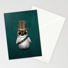 Steampunk Baby Penguin on Blue Stationery Cards