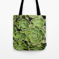 succulent Tote Bags featuring Succulent by Cynthia del Rio