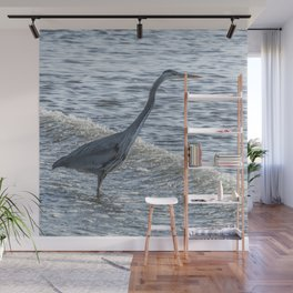 Great Blue Heron and Wave Wall Mural