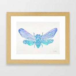 Summer Cicada – Blue Ombré Palette Framed Art Print