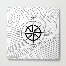 Topographic Line Pattern with Compass #797 Metal Print