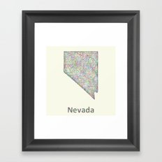 Nevada map Framed Art Print