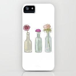 Flowers in Glass Bottles . Pastel Floralprint Botanica Poster Prints iPhone Case