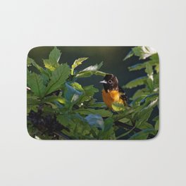 Baltimore Oriole in the Leaves Bath Mat