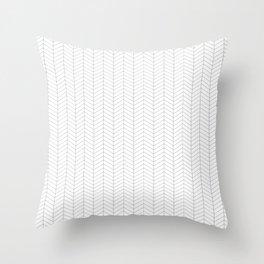 Herringbone_Small Scale_Black + White Throw Pillow