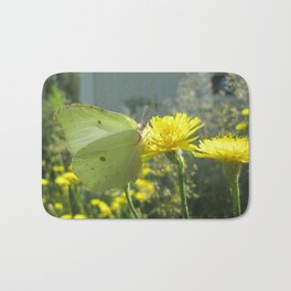 Brimstone butterfly and yellow flower 2 Bath Mat
