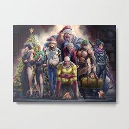 One punch man: Merry Xmas Metal Print