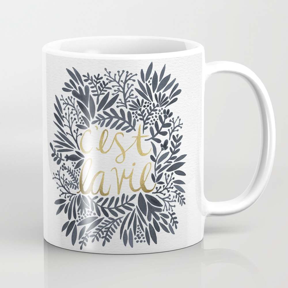 C'est La Vie – Grey & Gold Mug by Catcoq MUG2464634