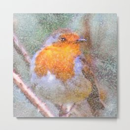 Artistic Christmas Robin Perched On A Thorny Branch Metal Print