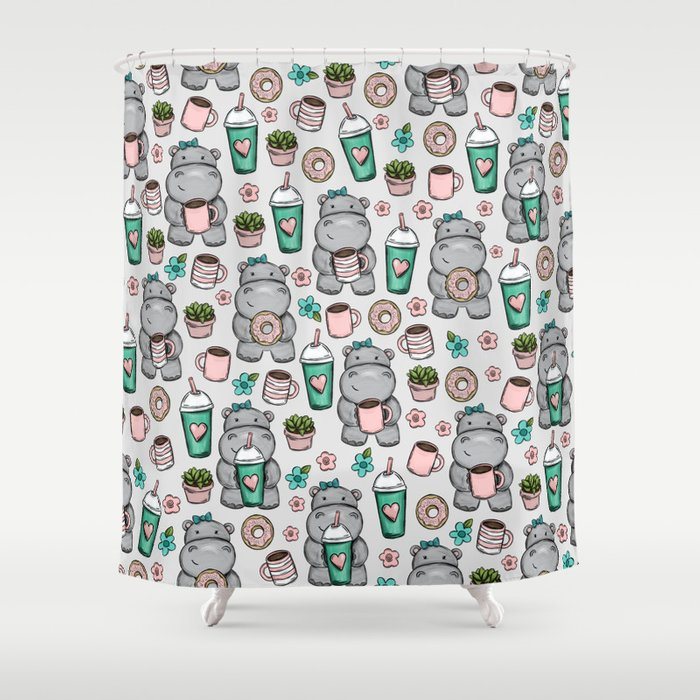 Hippo Friends, Little Hippo, Grey and Pink, Pink and Green, Donuts and Coffee, Cute Hippopotamus Shower Curtain