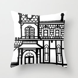 Old Victorian House - black & white Throw Pillow
