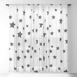 Black and White Stars Sheer Curtain