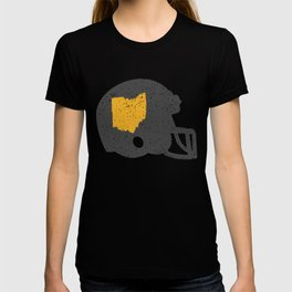 State Shape of Ohio Vintage Football Helmet T-shirt