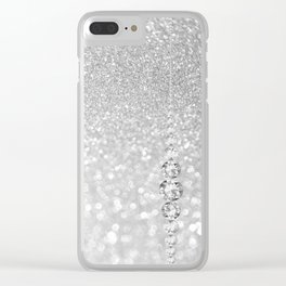 Diamonds are girls best friends III- Silver elegant glitter effect Clear iPhone Case