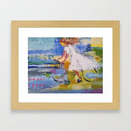 Girl and bicycle Framed Art Print