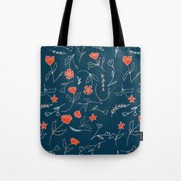 Orange pink pastel navy blue modern floral Tote Bag