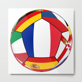 Soccer ball with flags - flag of France in the center Metal Print