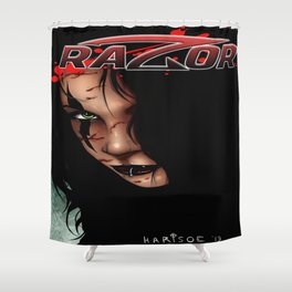 RAZOR face by Everette Hartsoe Shower Curtain