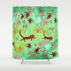 levitating kitties Shower Curtain