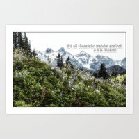 tolkien Art Prints featuring Alpine Wildflowers Tolkien Quote  by Elliott's Location Photography