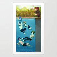 iwatobi Art Prints featuring IWATOBI SWIM CLUB by Nymre