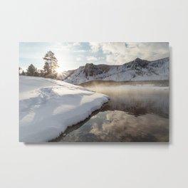 Yellowstone National Park - Bison tracks along the Madison River Metal Print