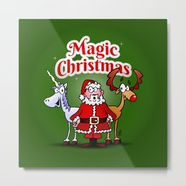 Magic Christmas with a unicorn Metal Print