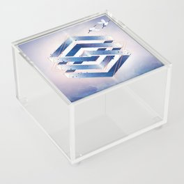 Indigo Hexagon :: Floating Geometry Acrylic Box