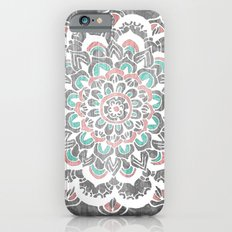 Pastel Floral Medallion on Faded Silver Wood iPhone 6 Slim Case