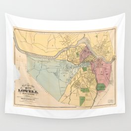 Map of Lowell, Massachusets (1881) Wall Tapestry