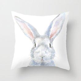 Gray Bunny Rabbit Watercolor Painting Throw Pillow