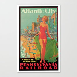 Atlantic city vintage bathing beauty Canvas Print