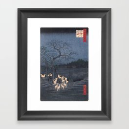 Utagawa Hiroshige - New Year's Eve Foxfires at the Changing Tree Framed Art Print