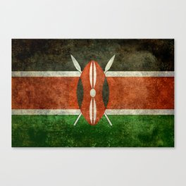 National flag of Kenya -Vintage version, to scale Canvas Print