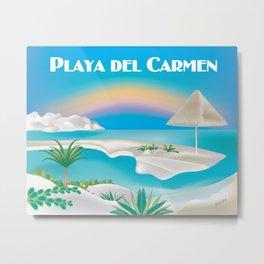 Playa del Carmen, Mexico - Skyline Illustration by Loose Petals Metal Print