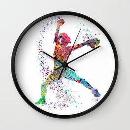 Baseball Softball Pitcher Watercolor Print Art Print Girl's Softball Painting Wall Clock