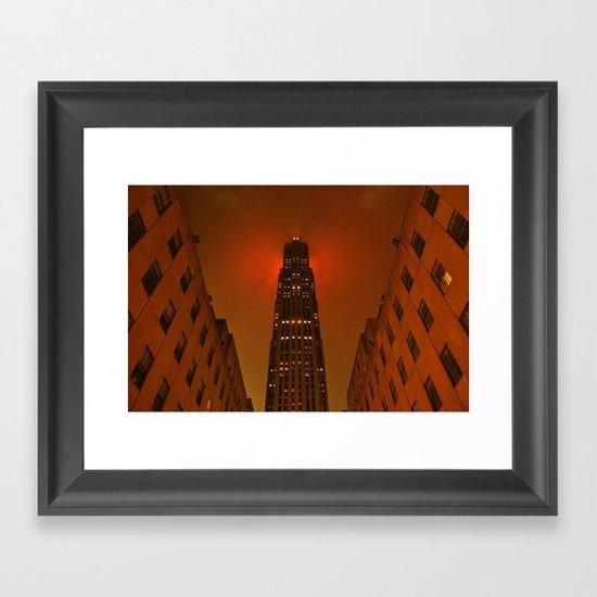 Rockefeller Center in the Rain Framed Art Print