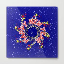 Happy New Year Pin Wheel Metal Print