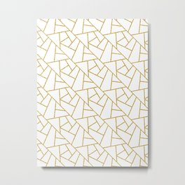 Gold and White Abstract Geometric Glitter Pattern Metal Print