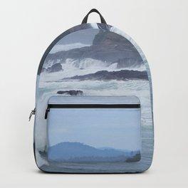 Crashing Waves In Blue Backpack