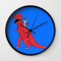 dinosaur Wall Clocks featuring Dinosaur B Forever by Isaboa