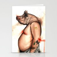 pig Stationery Cards featuring pig by Andrei Moldovan
